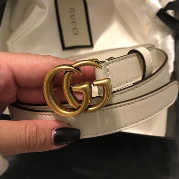 8fe76452e Gucci Accessories | White Leather Thin Double G Belt | Poshmark